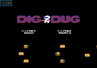 Title screen of the game Dig Dug on Atari 7800