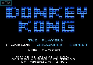 Title screen of the game Donkey Kong on Atari 7800