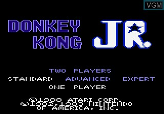 Title screen of the game Donkey Kong Jr on Atari 7800