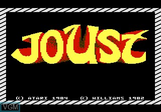 Title screen of the game Joust on Atari 7800