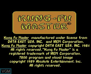 Title screen of the game Kung Fu Master on Atari 7800