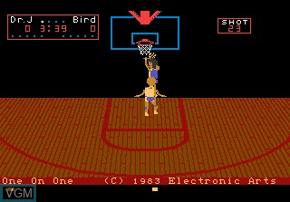 Title screen of the game One-on-One Basketball on Atari 7800