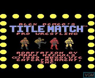Title screen of the game Title Match Pro Wrestling on Atari 7800