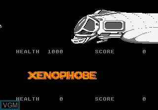 Menu screen of the game Xenophobe on Atari 7800