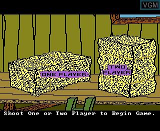 Menu screen of the game Barnyard Blaster on Atari 7800