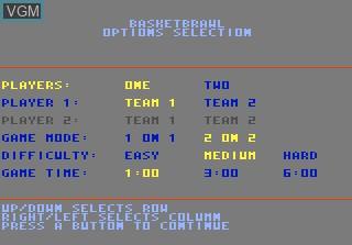 Menu screen of the game Basketbrawl on Atari 7800
