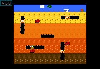 Menu screen of the game Dig Dug on Atari 7800