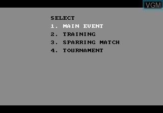 Menu screen of the game Fight Night on Atari 7800