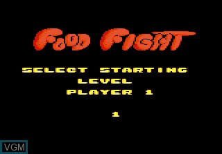 Menu screen of the game Food Fight on Atari 7800