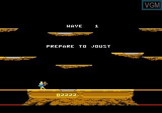 Menu screen of the game Joust on Atari 7800