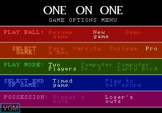 Menu screen of the game One-on-One Basketball on Atari 7800