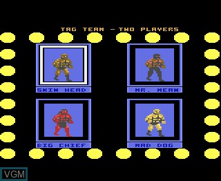Menu screen of the game Title Match Pro Wrestling on Atari 7800