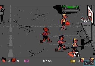 In-game screen of the game Basketbrawl on Atari 7800