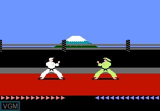 In-game screen of the game Karateka on Atari 7800