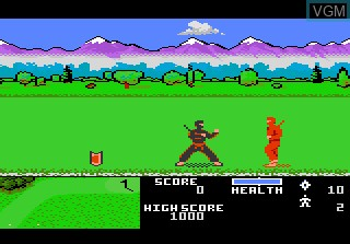 In-game screen of the game Ninja Golf on Atari 7800