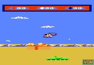 In-game screen of the game Choplifter on Atari 7800