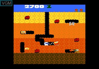 In-game screen of the game Dig Dug on Atari 7800
