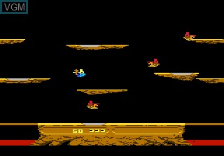 In-game screen of the game Joust on Atari 7800