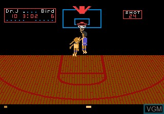 In-game screen of the game One-on-One Basketball on Atari 7800