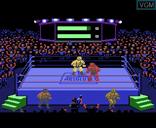 In-game screen of the game Title Match Pro Wrestling on Atari 7800