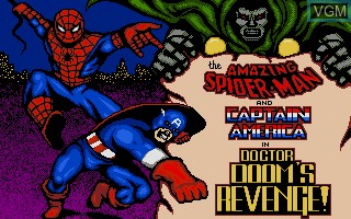 Title screen of the game Amazing Spider-Man, The and Captain America in Doctor Doom's Revenge! on Atari ST