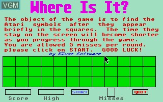 Menu screen of the game Where is It? on Atari ST