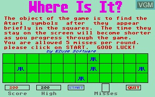 In-game screen of the game Where is It? on Atari ST