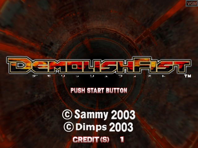 Title screen of the game Demolish Fist on Atomiswave