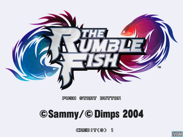 Title screen of the game Rumble Fish, The on Atomiswave