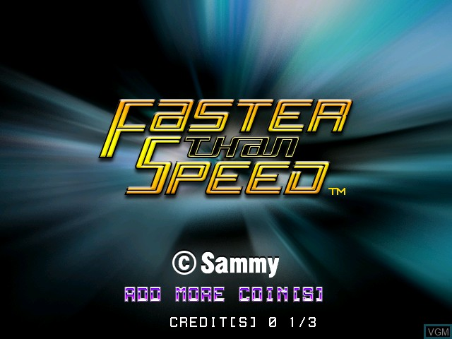 Title screen of the game Faster Than Speed on Atomiswave