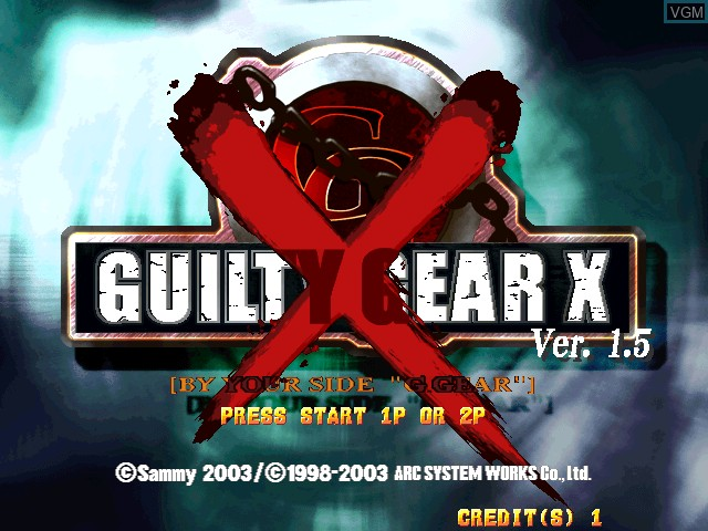 Title screen of the game Guilty Gear X Ver. 1.5 on Atomiswave