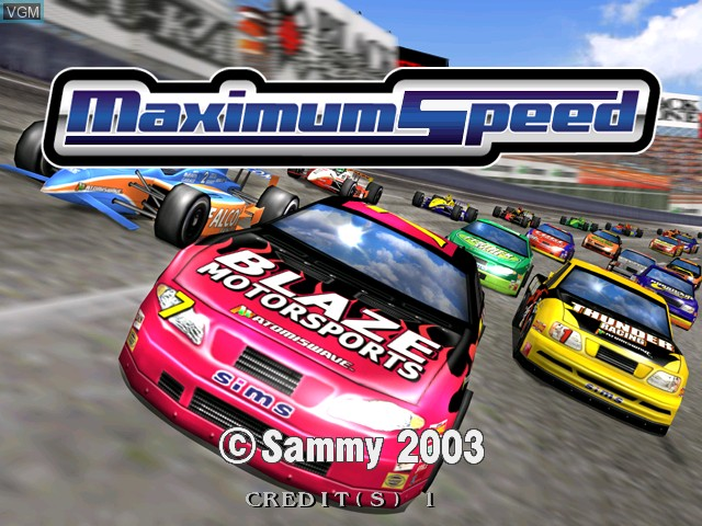 Title screen of the game Maximum Speed on Atomiswave