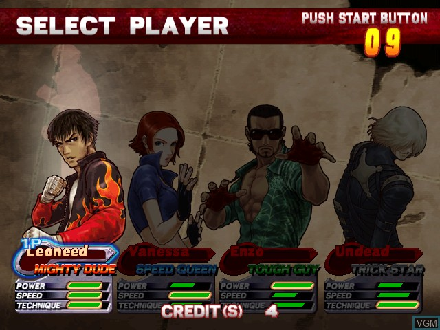 Menu screen of the game Demolish Fist on Atomiswave