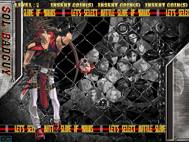 Menu screen of the game Guilty Gear Isuka on Atomiswave