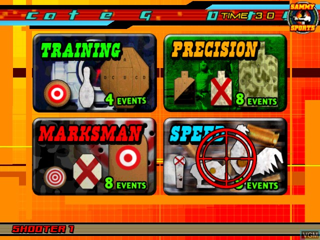 Menu screen of the game Sports Shooting USA on Atomiswave