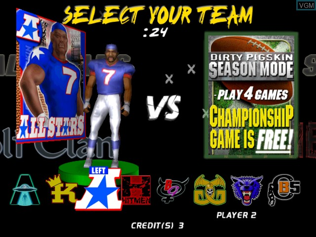 Menu screen of the game Dirty Pigskin Football on Atomiswave