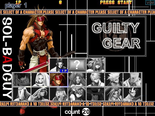 Menu screen of the game Guilty Gear X Ver. 1.5 on Atomiswave