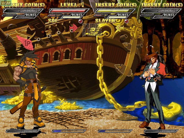 In-game screen of the game Guilty Gear Isuka on Atomiswave