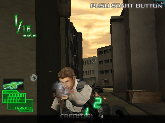 In-game screen of the game Ranger Mission on Atomiswave