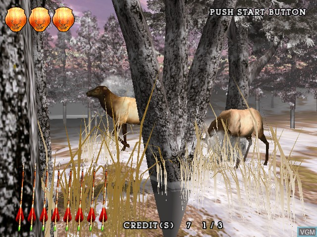 In-game screen of the game Extreme Hunting on Atomiswave