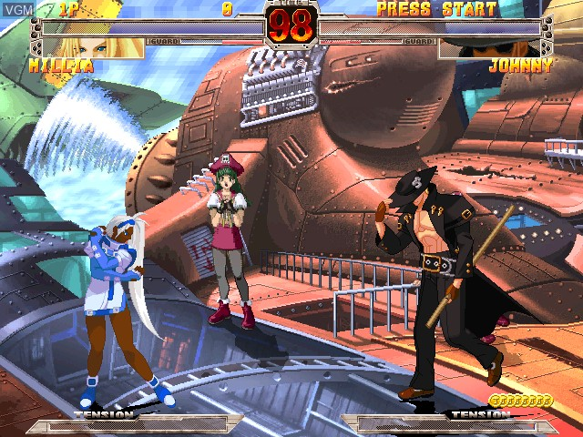 In-game screen of the game Guilty Gear X Ver. 1.5 on Atomiswave