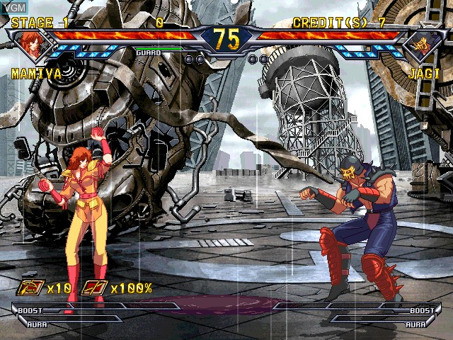 In-game screen of the game Hokuto No Ken on Atomiswave