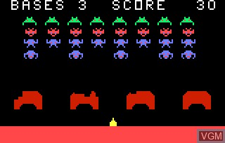 In-game screen of the game Astro Battle AKA Space Invaders on Bally Astrocade