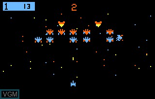 In-game screen of the game Galactic Invasion AKA Galaxian on Bally Astrocade