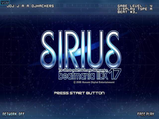 Title screen of the game Beatmania IIDX 17 Sirius on Konami Bemani PC Type