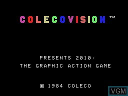 Title screen of the game 2010 - The Graphic Action Game on Coleco Industries Colecovision