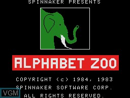 Title screen of the game Alphabet Zoo on Coleco Industries Colecovision