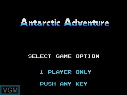 Title screen of the game Antarctic Adventure on Coleco Industries Colecovision