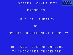 Title screen of the game BC's Quest for Tires on Coleco Industries Colecovision