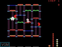 In-game screen of the game Burgertime on Coleco Industries Colecovision